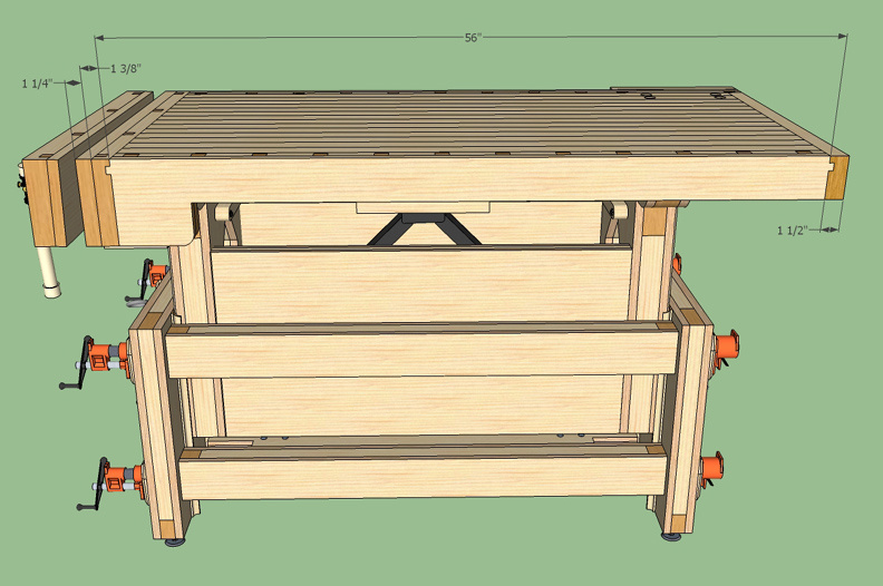Adjustable Height Workbench Drawing
